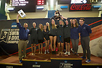 BIRMINGHAM, AL - MARCH 11: The Nova Southeastern  team receives their fourth place trophy during the Division II Men's and Women's Swimming & Diving Championship held at the Birmingham CrossPlex on March 11, 2017 in Birmingham, Alabama. (Photo by Matt Marriott/NCAA Photos via Getty Images)