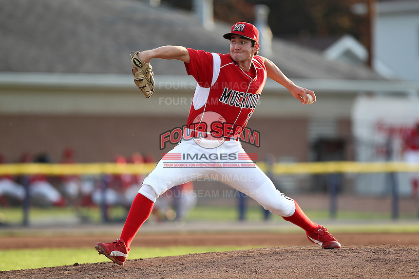Batavia Muckdogs pitcher Adam Bileckyj #12 during an exhibition game against the Newark Pilots of the Perfect Game Collegiate Baseball Lague at Dwyer Stadium on June 15, 2012 in Batavia, New York.  Batavia defeated Newark 8-0.  (Mike Janes/Four Seam Images)