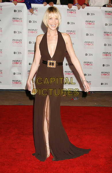 ASHLEY SCOTT.The 33rd Annual People's Choice Awards held at The Shrine Auditorium, Los Angeles, California, USA..January 9th, 2007.full length brown halterneck dress plunging neckline belt slit split.CAP/ADM/RE.©Russ Elliot/AdMedia/Capital Pictures
