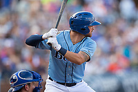 Mike Marjama (3) of the Durham Bulls at bat against the Buffalo Bisons at Durham Bulls Athletic Park on April 30, 2017 in Durham, North Carolina.  The Bisons defeated the Bulls 6-1.  (Brian Westerholt/Four Seam Images)