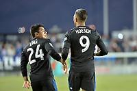 San Jose, CA - Wednesday June 13, 2018: Nick Lima, Danny Hoesen during a Major League Soccer (MLS) match between the San Jose Earthquakes and the New England Revolution at Avaya Stadium.