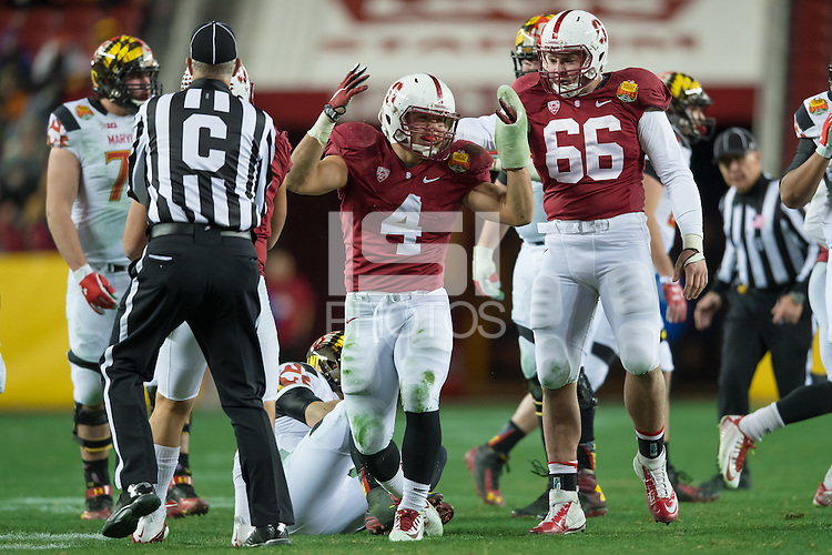 SANTA CLARA, CA - DECEMBER 30, 2014: Blake Martinez celebrates during Stanford's game against Maryland in the 2014 Foster Farms Bowl.  The Cardinal defeated the Terrapins 45-21.
