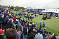 At the 7th during Friday's Fourballs, at the Ryder Cup, Le Golf National, Îls-de-France, France. 28/09/2018.<br /> Picture David Lloyd / Golffile.ie<br /> <br /> All photo usage must carry mandatory copyright credit (© Golffile | David Lloyd)