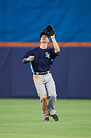 Charlotte Stone Crabs center fielder Jake Stone (21) settles under a fly ball during the first game of a doubleheader against the St. Lucie Mets on April 24, 2018 at First Data Field in Port St. Lucie, Florida.  St. Lucie defeated Charlotte 5-3.  (Mike Janes/Four Seam Images)