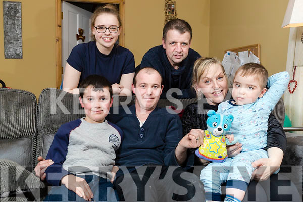 David and Louise Collins with their son Daniel and daughter Alannah with Anthony and James Sheehy (Seated on Left) who travelled to Dublin with Daniel's teddy Water.