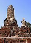 Ruins of the Thai Buddhist temple of Wat Chai Wattanaram in Ayutthaya near Bangkok.