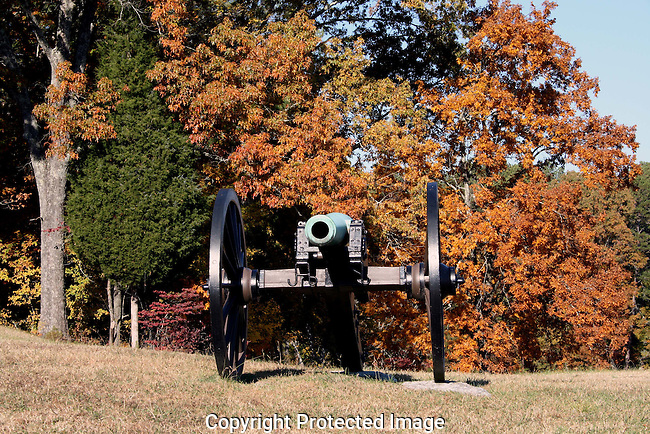 Photography of Chickamauga Chattanooga National Park, American Civil War Battlefield, including the Brotherton Cabin, Snod Grass Hill, Wilder Tower, Cannon, Cabin, battlefield and woods.