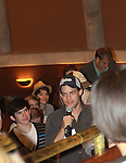 """Jeremy Jordan """"Jack Kelly"""" stars in The Newsies and is at the Talk Back - The Newsies Fan Day at The Paper Mill Playhouse on October 2, 2010 in Millburn, New Jersey with current cast members and cast members of the film. It was a day of events to all devoted fans of Newsies - Radio Disney at 4 pm, executive reception for members of the original cast of Newsies (the movie) followed by a talkback, Q&A in the theater - all this followed by the evening performance of Newsies with the Curtain Call, old cast meets new cast and a cast photo of all. (Photo by Sue Coflin/Max Photos)"""