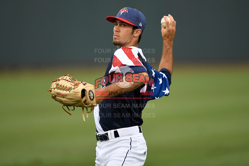 Center fielder Jacob Zanon (21) of the Columbia Fireflies warms up before a game against the Rome Braves on Monday, July 3, 2017, at Spirit Communications Park in Columbia, South Carolina. Columbia won, 1-0. (Tom Priddy/Four Seam Images)