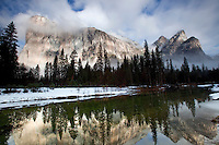 Reflection of El Capitan in the Merced River during winter in Yosemite.