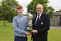 Michael Heeney Chair Connacht Golf presents Robert Walsh JNR (Kinsale) winner of the Connacht Boys Amateur Championship, Oughterard Golf Club, Oughterard, Co. Galway, Ireland. 05/07/2019<br /> Picture: Golffile | Fran Caffrey<br /> <br /> <br /> All photo usage must carry mandatory copyright credit (© Golffile | Fran Caffrey)