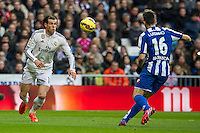 Real Madrid´s Gareth Bale and Deportivo de la Coruna's Luisinho during 2014-15 La Liga match between Real Madrid and Deportivo de la Coruna at Santiago Bernabeu stadium in Madrid, Spain. February 14, 2015. (ALTERPHOTOS/Luis Fernandez) /NORTEphoto.com