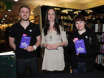 Josh Heller Weekend Manager and Maria Duff Childrens Bok Seller pictured with author Erike McGann when she signed copies of her new book 'The Demon Notebook' at Waterstones in Scotch Hall. Photo: Colin Bell/pressphotos.ie