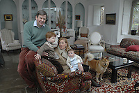 Pic by Si Barber  - 07739 472 922<br /> Creake Abbey in North Norfolk. Image shows - Diana Brocklebank Scott with husband Anthony and sons Arthur and baby Freddy. The dog is called Samboucca (after the drink)