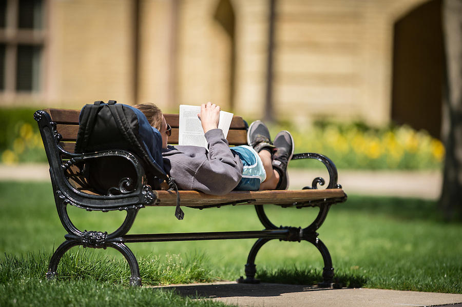 Apr. 23, 2016; Reading on a Spring Saturday (Photo by Matt Cashore/University of Notre Dame)