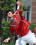 (Boston Ma 051814) Jack Mykrantz of Wellesley High makes a serve in the doubles match, during the South Sectional Finals, Sunday at Newton North High School, Sunday, May 18, 2014, in Newton. (Jim Michaud Photo) for Sunday