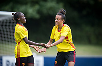Natalie Murray (right) congratulates goal scorer Rinsola Babajide of Watford Ladies during the pre season friendly match between Stevenage Ladies FC and Watford Ladies at The County Ground, Letchworth Garden City, England on 16 July 2017. Photo by Andy Rowland / PRiME Media Images.