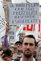 "Manifestazione ""Per la democrazia, la legalita', il lavoro, i diritti"" indetta da Partito Democratico, Italia dei Valori, Federazione della Sinistra, Sinistra Ecologia e Liberta', Verdi e popolo viola in piazza del Popolo a Roma, 13 marzo 2010..Italian center-left opposition parties and associations demonstrate in Rome, 13 march 2010, against Berlusconi's government..UPDATE IMAGES PRESS/Riccardo De Luca"