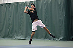 WINSTON-SALEM, NC - JANUARY 23: Wake Forest's Julian Zlobinsky. The Wake Forest University Demon Deacons hosted Coastal Carolina University on January 23, 2018 at Wake Forest Tennis Complex in Winston-Salem, NC in a Division I College Men's Tennis match. Wake Forest won the match 6-1.