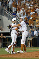 Texas Longhorn pitcher Corey Knebel #29 celebrates with catcher Jacob Felts #12 after defeating the Arizona State Sun Devils in NCAA Tournament Super Regional Game #3 and heading to Omaha for the College World Series on June 12, 2011 at Disch Falk Field in Austin, Texas. (Photo by Andrew Woolley / Four Seam Images)