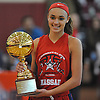 Celeste Taylor #10 of Team Nassau (Long Island Lutheran HS) poses with her game MVP trophy after leading Team Nassau to victory over Team Suffolk in the Alzheimer's All-Star Girls Basketball Classic at Bay Shore High School on Sunday, Oct. 23, 2016.