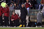 03 December 2010: Stanford head coach Paul Ratcliffe (center). The Stanford University Cardinal defeated the Boston College Eagles 2-0 at WakeMed Stadium in Cary, North Carolina in an NCAA Women's College Cup semifinal game.