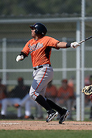 Baltimore Orioles Hector Veloz (17) during a minor league spring training game against the Boston Red Sox on March 18, 2015 at the Buck O'Neil Complex in Sarasota, Florida.  (Mike Janes/Four Seam Images)