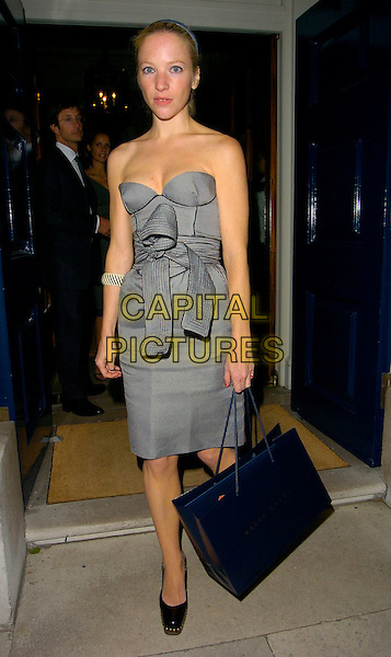 NATALIE PRESS.The Ralph Lauren Wimbledon Championships Dinner, Spencer House, London, UK..June 21st, 2006.Ref: CAN.full length grey gray strapless dress bow goody bag.www.capitalpictures.com.sales@capitalpictures.com.©Capital Pictures