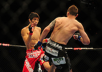 Oct. 29, 2011; Las Vegas, NV, USA; UFC fighter Hatsu Hioki (left) against George Roop during UFC 137 at the Mandalay Bay event center. Mandatory Credit: Mark J. Rebilas-