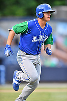 Lexington Legends first baseman Nick Pratto (30) runs to first base during a game against the Asheville Tourists at McCormick Field on May 25, 2018 in Asheville, North Carolina. The Tourists defeated the Legends 6-4. (Tony Farlow/Four Seam Images)