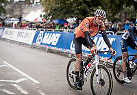 Mathieu van der Poel (NED/Corendon-Circus) rolling in after having to drop back (due to fatigue) from the front of the race in the final lap<br /> <br /> Elite Men Road Race from Leeds to Harrogate (shortened to 262km)<br /> 2019 UCI Road World Championships Yorkshire (GBR)<br /> <br /> ©kramon