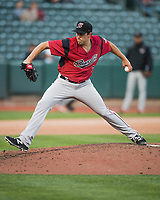 Sacramento River Cats starting pitcher Michael Roth (38) delivers a pitch to the plate against the Salt Lake Bees in Pacific Coast League action at Smith's Ballpark on April 13, 2017 in Salt Lake City, Utah. Salt Lake defeated Sacramento 4-3. (Stephen Smith/Four Seam Images)