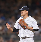 Masahiro Tanaka (Yankees), AUGUST 21, 2015 - MLB : Pitcher Masahiro Tanaka of the New York Yankees reacts during the Major League Baseball game against the Cleveland Indians at Yankee Stadium in the Bronx, New York, United States. (Photo by AFLO)