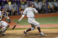 Texas A&M Aggies shortstop Blake Allemand (1) follows through on his swing during a Southeastern Conference baseball game against the LSU Tigers on April 23, 2015 at Alex Box Stadium in Baton Rouge, Louisiana. LSU defeated Texas A&M 4-3. (Andrew Woolley/Four Seam Images)