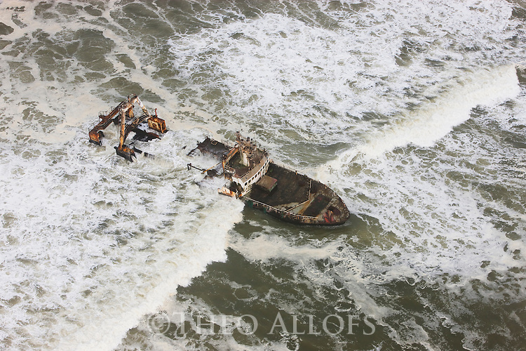 Namibia, Namib Desert, Skeleton Coast, aerial view of shipwreck Zeila; it stranded in 2008