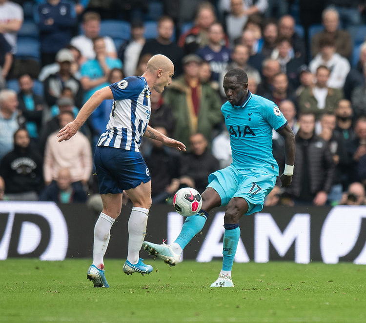 Brighton & Hove Albion's Aaron Mooy (left) battles with Tottenham Hotspur's Moussa Sissoko (right) <br /> <br /> Photographer David Horton/CameraSport<br /> <br /> The Premier League - Brighton and Hove Albion v Tottenham Hotspur - Saturday 5th October 2019 - The Amex Stadium - Brighton<br /> <br /> World Copyright © 2019 CameraSport. All rights reserved. 43 Linden Ave. Countesthorpe. Leicester. England. LE8 5PG - Tel: +44 (0) 116 277 4147 - admin@camerasport.com - www.camerasport.com