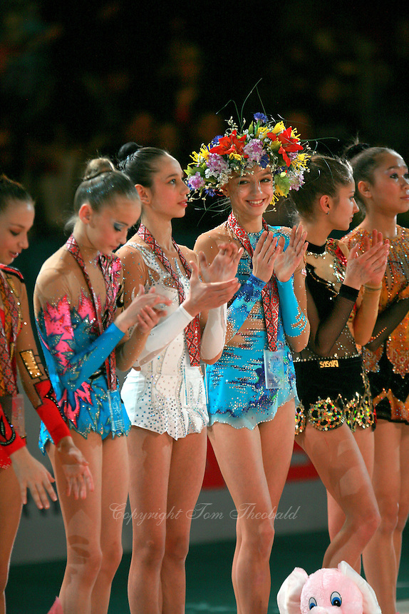 "(Center) Evgenia Kanaeva of Russia smiles during lineup after event finals awards ceremony at 2007 World Cup Kiev, ""Deriugina Cup"" in Kiev, Ukraine on March 18, 2007."