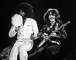 Billy Preston and George Harrison performing together. Photo by Jim Peppler. Copyright/ Jim Peppler.
