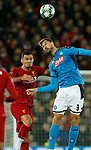 Fernando Llorente of Napoli gets above Dejan Lovren of Liverpool  during the UEFA Champions League match at Anfield, Liverpool. Picture date: 27th November 2019. Picture credit should read: Andrew Yates/Sportimage