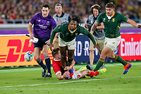 27th October 2019, Oita, Japan;  S'busiso Nkosi of South Africa watches the ball along the wing line during the 2019 Rugby World Cup semi-final match between Wales and South Africa at International Stadium Yokohama in Kanagawa, Japan on October 27, 2019.  - Editorial Use