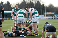 Celebrations with Lewis Jones of Ealing Trailfinders after his try during the Championship Cup Quarter Final match between Ealing Trailfinders and Nottingham Rugby at Castle Bar , West Ealing , England  on 2 February 2019. Photo by Carlton Myrie / PRiME Media Images.