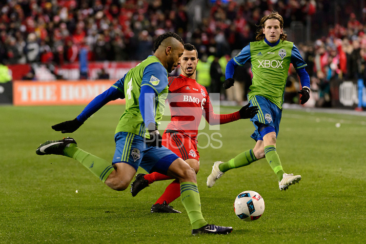 Toronto, ON, Canada - Saturday Dec. 10, 2016: Tyrone Mears, Sebastian Giovinco during the MLS Cup finals at BMO Field. The Seattle Sounders FC defeated Toronto FC on penalty kicks after playing a scoreless game.