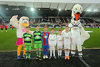 Children mascots with Cyril and Cybill the Swans before the Barclays Premier League match between Swansea City and Crystal Palace at the Liberty Stadium, Swansea on February 06 2016