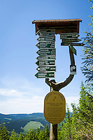 Germany, Thuringia, Ilmenau: signpost at Goethe-Hiking-Trail in Thuringian Forest | Deutschland, Thueringen, Ilmenau: Wanderwegweiser auf dem Goethe-Wanderweg im Thueringer Wald