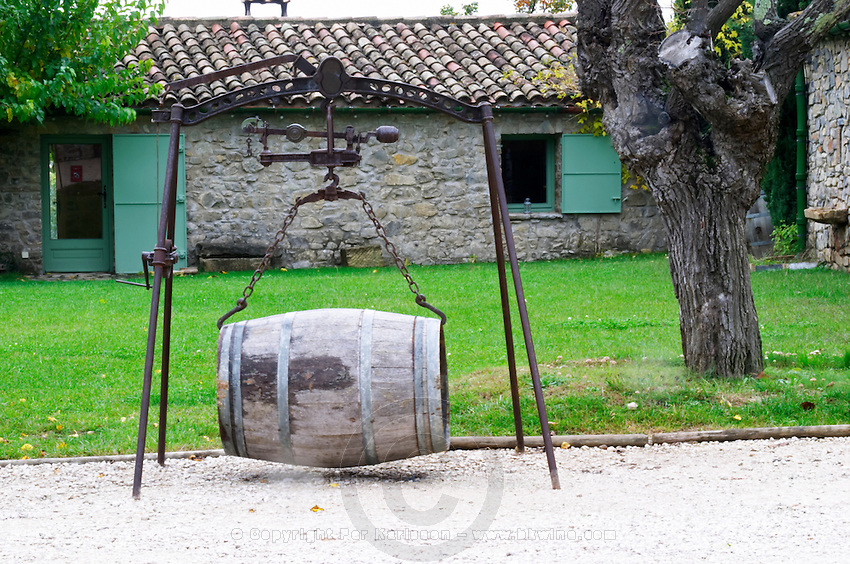 Domaine Haut-Lirou in St Jean de Cuculles. Pic St Loup. Languedoc. Old barrel weighing scale. France. Europe.