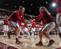 STANFORD, CA - December 29, 2012: Joslyn Tinkle and Denia Ebersole before their game against Connecticut at Maples Pavilion in Stanford, California.  UConn defeated the Cardinal 61-35.