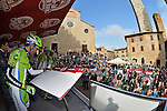 Last year's winner Moreno Moser (ITA) Cannondale signs on in Piazza Duomo, San Gimignano before the start of the 2014 Strade Bianche race over the white dusty gravel roads of Tuscany running 200km from San Gimignano to Siena, Italy. 8th March 2014.<br /> Photo: Gian Mattia D'Alberto/LaPresse/www.newsfile.ie