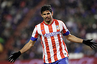 Diego Costa celebrates a goal during Real Valladolid V Atletico de Madrid match of La Liga 2012/13. 17/02/2012. Victor Blanco/Alterphotos /NortePhoto