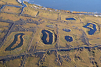 saltmarsh with mosquito ditches and artificial ponds; NJ, Delware Bay, Reed's Beach; aerial view