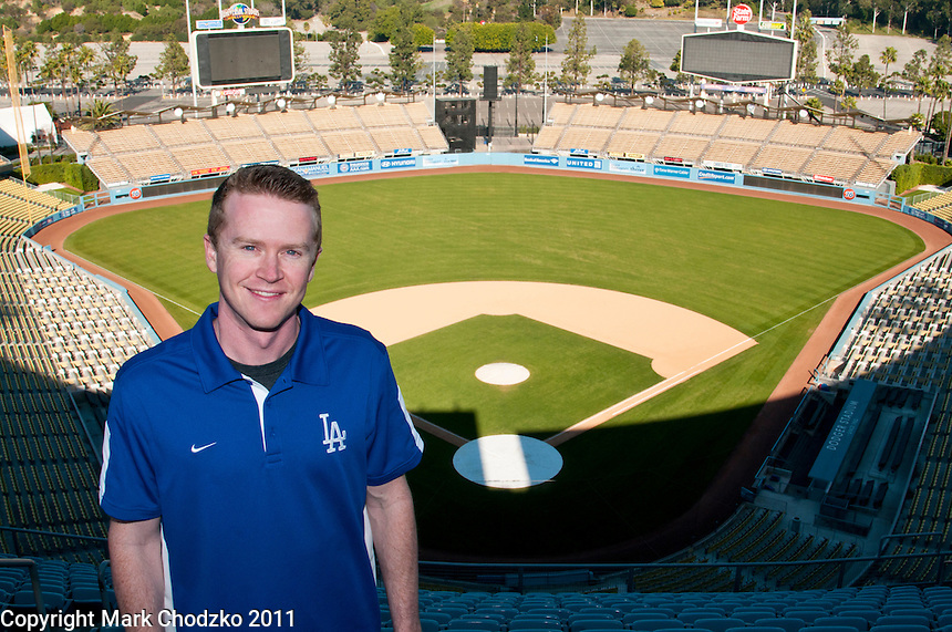 Public Relations Assitant, Adam Chodzko of the Los Angeles Dodgers at Dodger Stadium.